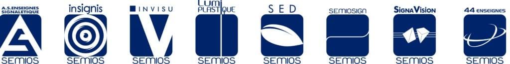 Former logos of the 8 Semios Group companies